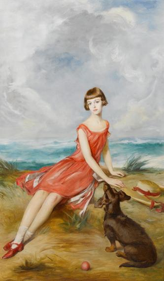 Adolf_Pirsch_Portrait_of_a_young_girl_with_her_dog_by_the_sea